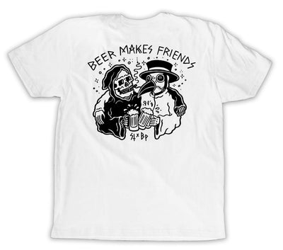 Beer Makes Friends (Sketchy Tank) S/S Tee - White - Outlined Beer Glass