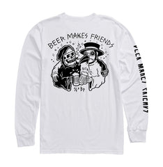 Beer Makes Friends (Sketchy Tank) L/S Tee - White