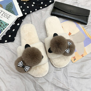 Cat Pom Pom Slippers