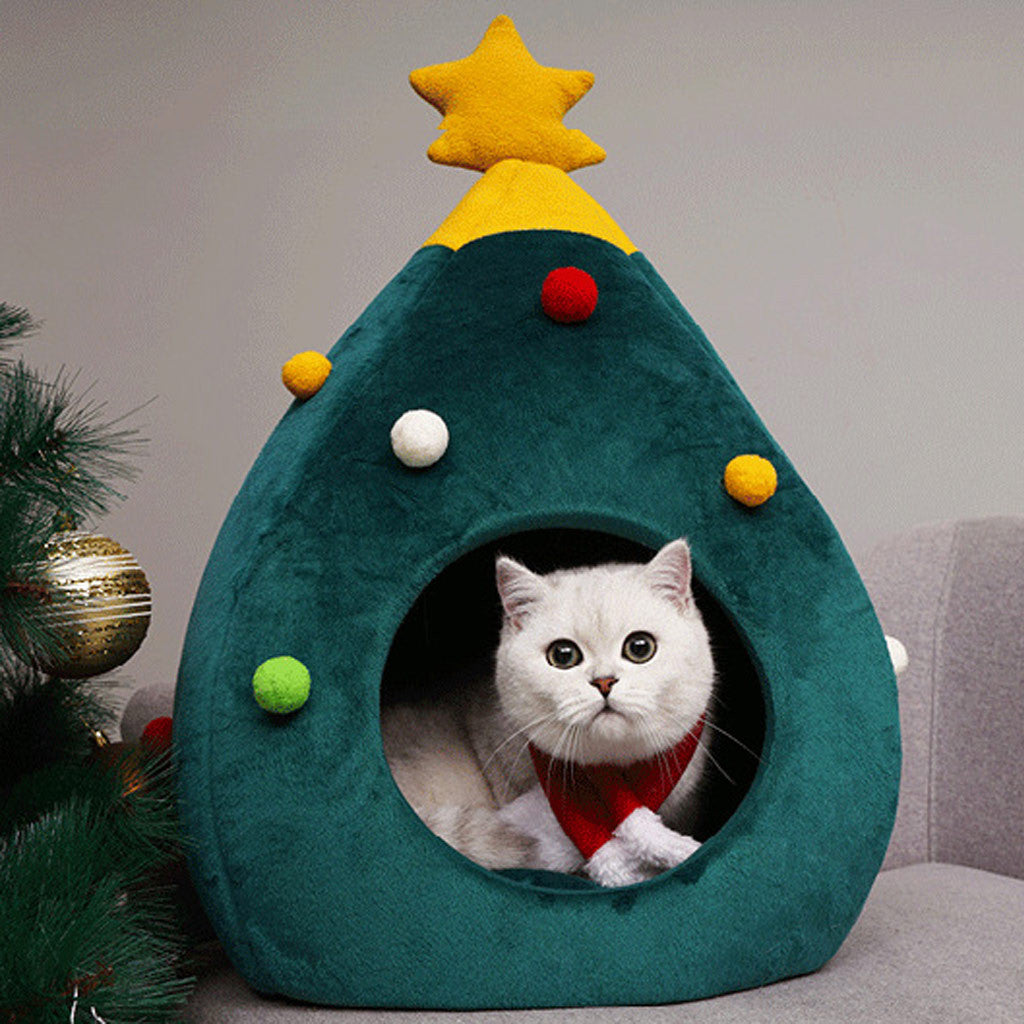 Christmas Tree Cat Bed