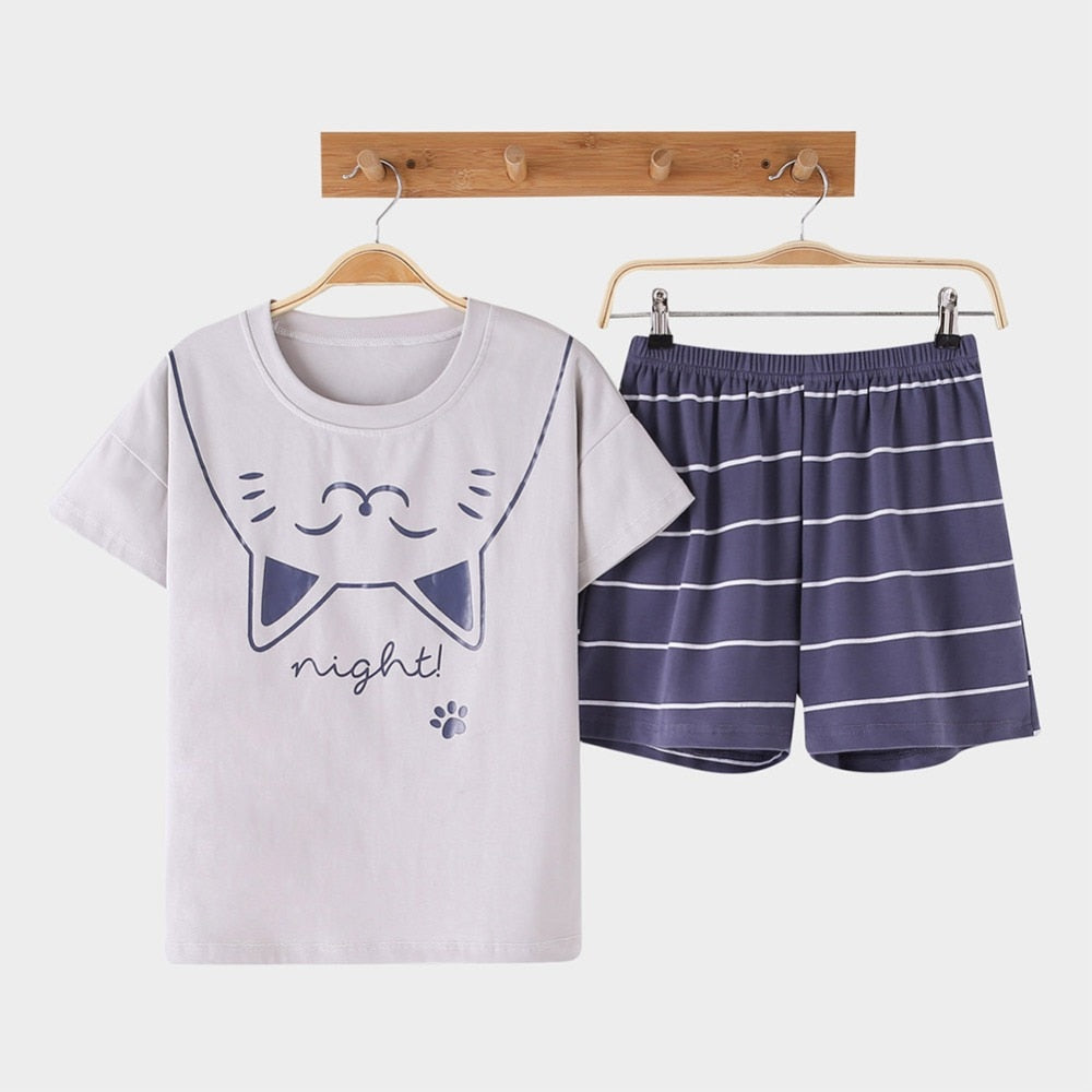 Smiley Cat Women's 2-pieces Pajamas Set