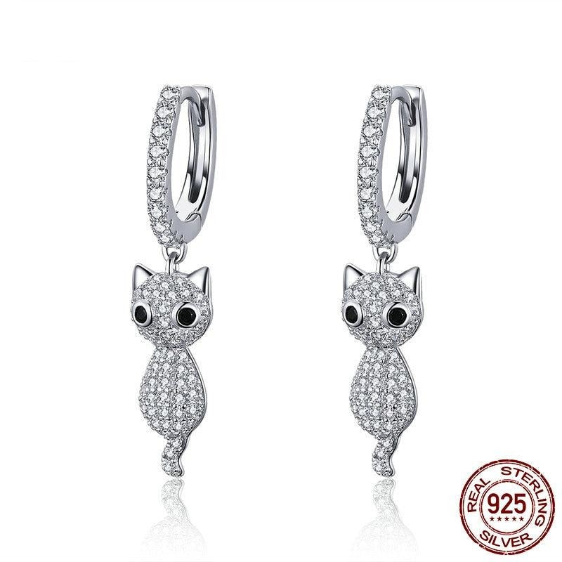 925 Sterling Silver Cat Drop Earrings
