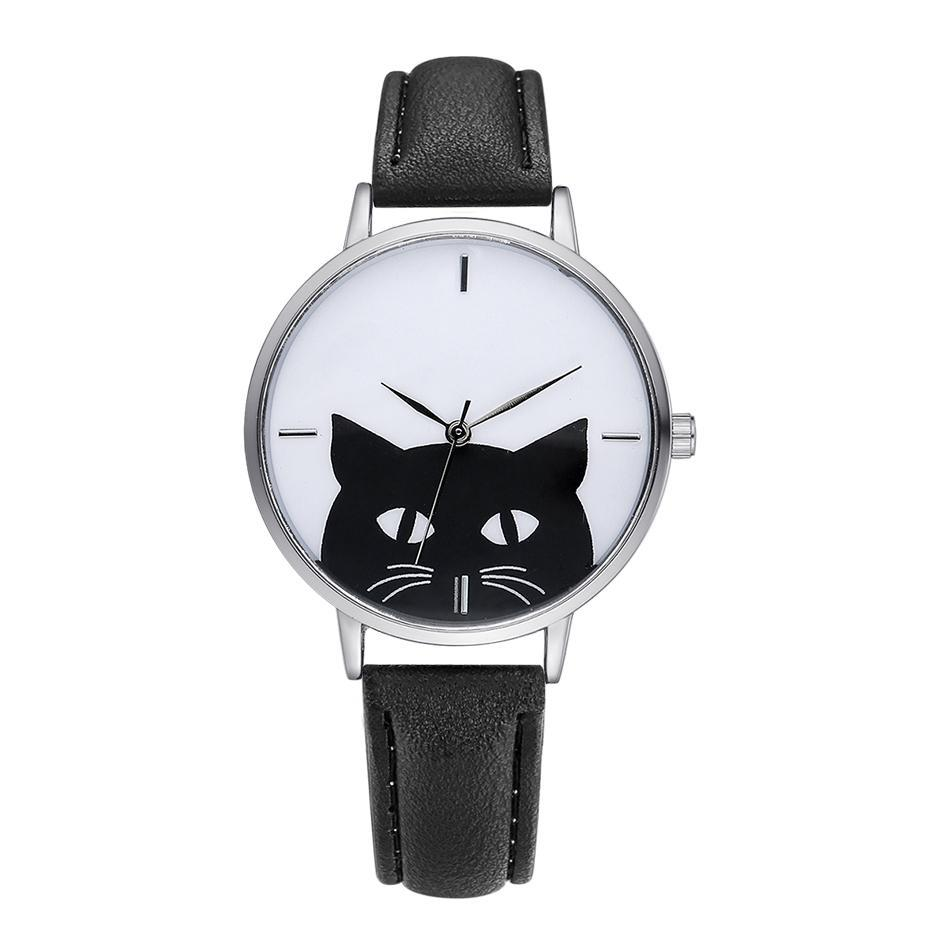 Serious Cat Leather Watch