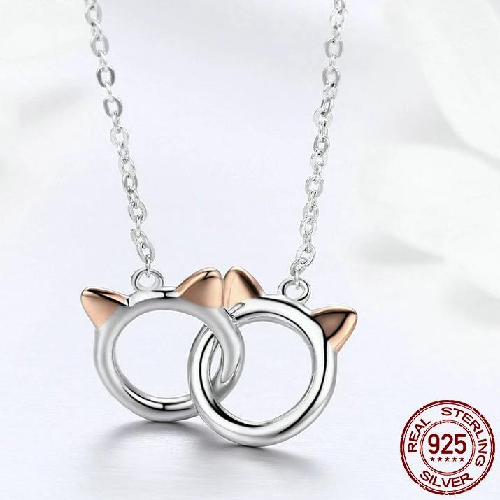 925 Sterling Silver Cat Duo Pendant Necklace