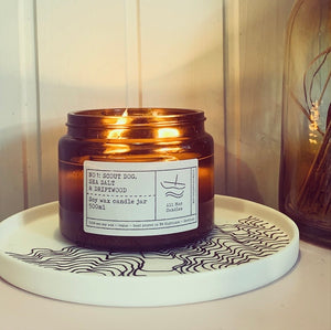 No 1: Scout Dog. Sea Salt and Drift Wood, Luxury Candle Jar.