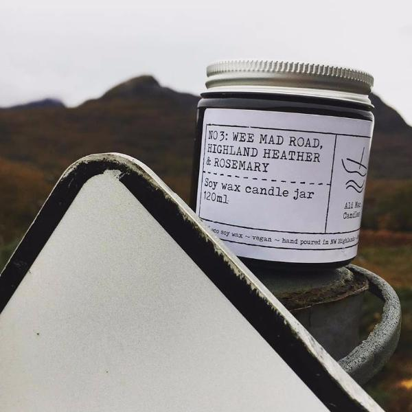 No 3: Wee Mad Road. Highland Heather and Rosemary, Luxury Candle Jar.