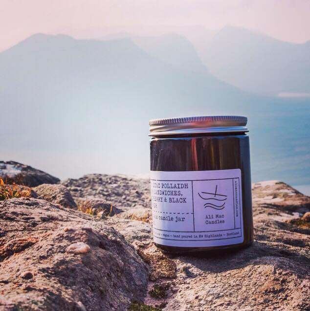 No 5: Stac Pollaidh - Jam Sandwiches, Raspberry & Black Pepper, Luxury Candle Jar.