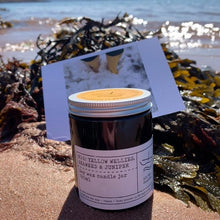Load image into Gallery viewer, No 6: Yellow Wellies. Seaweed & Juniper, Luxury Candle Jar.