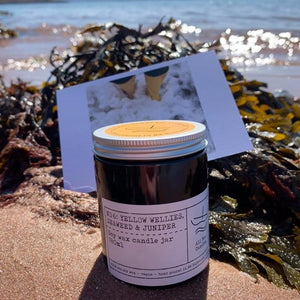 No 6: Yellow Wellies. Seaweed & Juniper, Luxury Candle Jar.