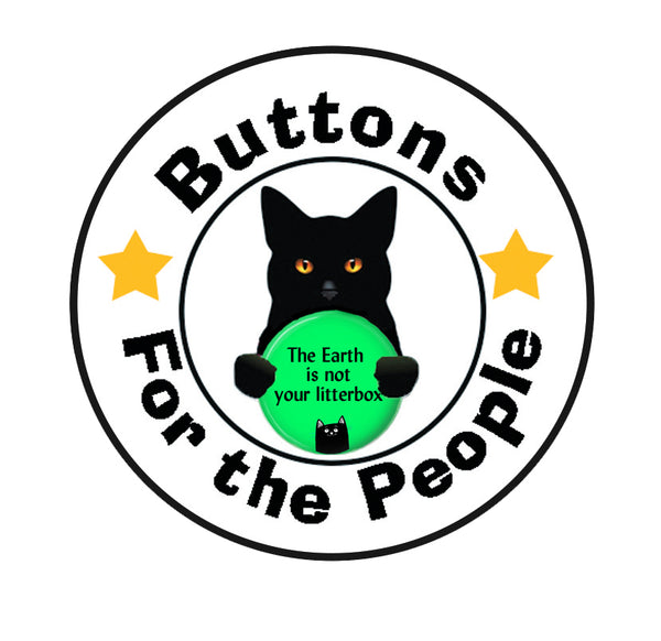 Buttons For the People Black Cat with protest pin