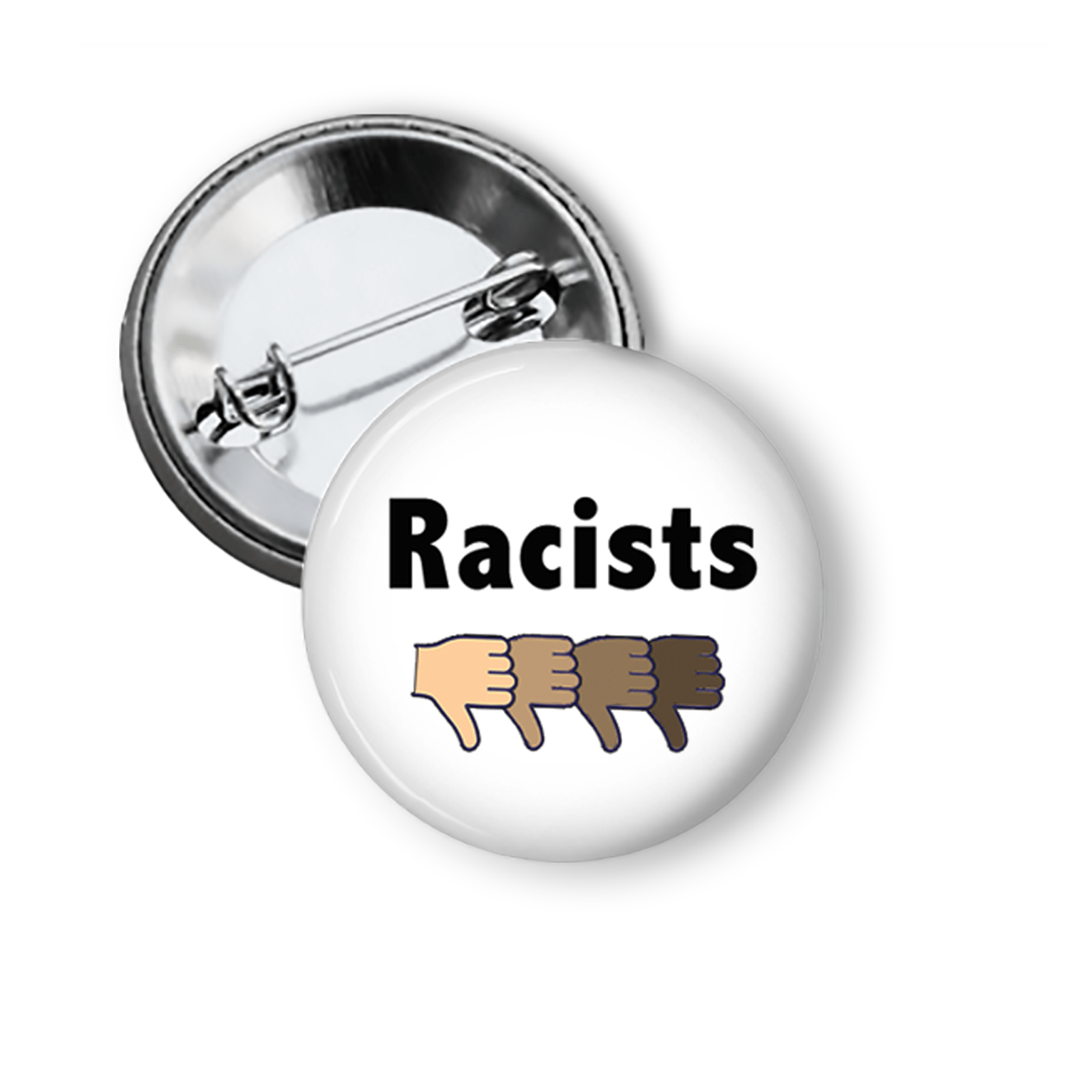 "Anti Racist ""Down With Racists"" Pinback Button Pins Buttons For the People"