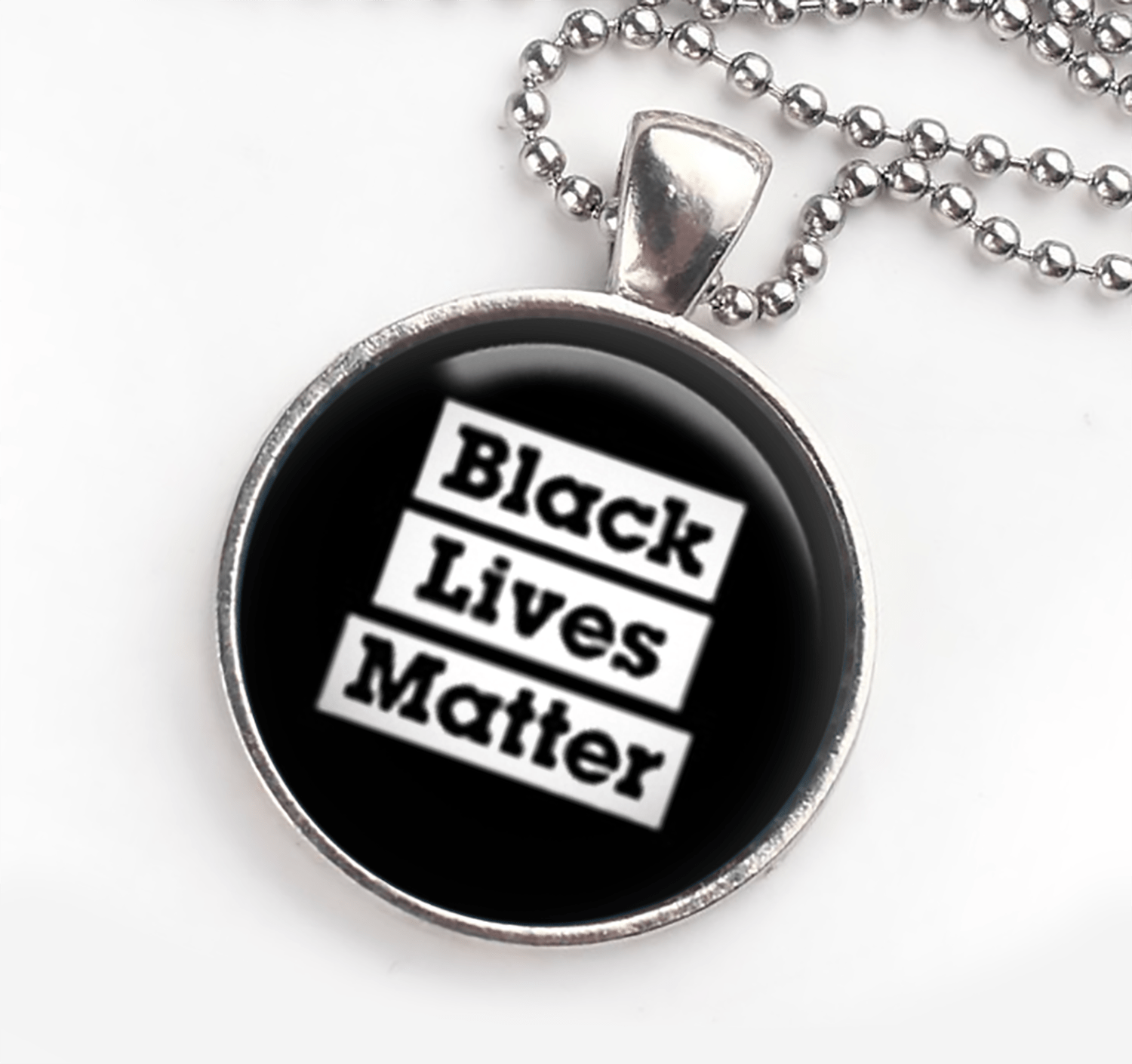 Black Lives Matter Necklace in Silver Setting Necklaces Buttons For the People