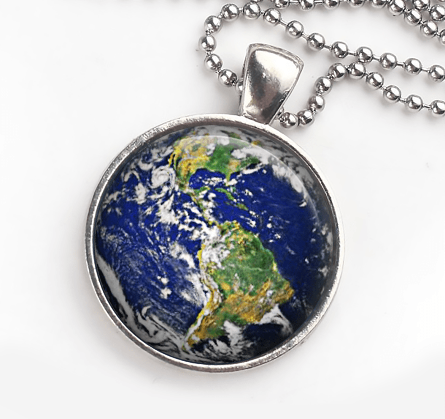 Planet Earth Necklace Custom Length and Cord Style