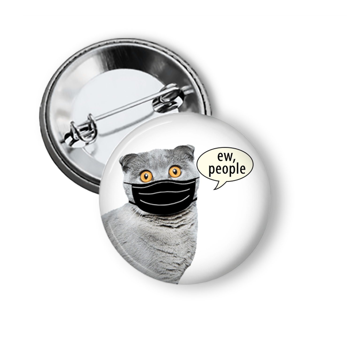 Funny Social Distancing Pin With a Cute Cat