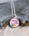 Feminist As Fuck Necklace with Pink Floral Design Necklace Buttons For the People