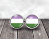 Gender Queer Flag Post Earrings Post Earrings Buttons For the People