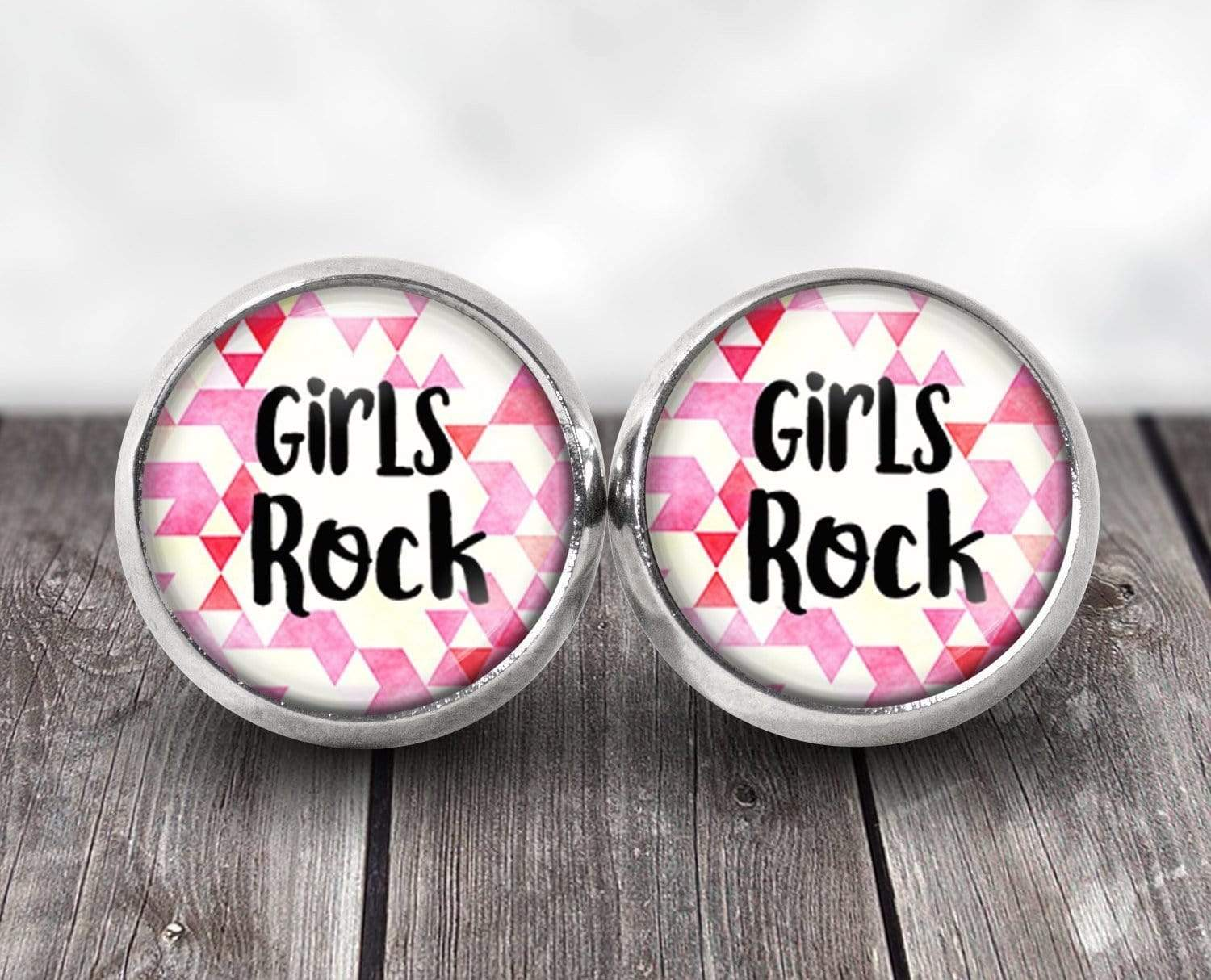 Girls Rock Post Earrings Post Earrings Buttons For the People