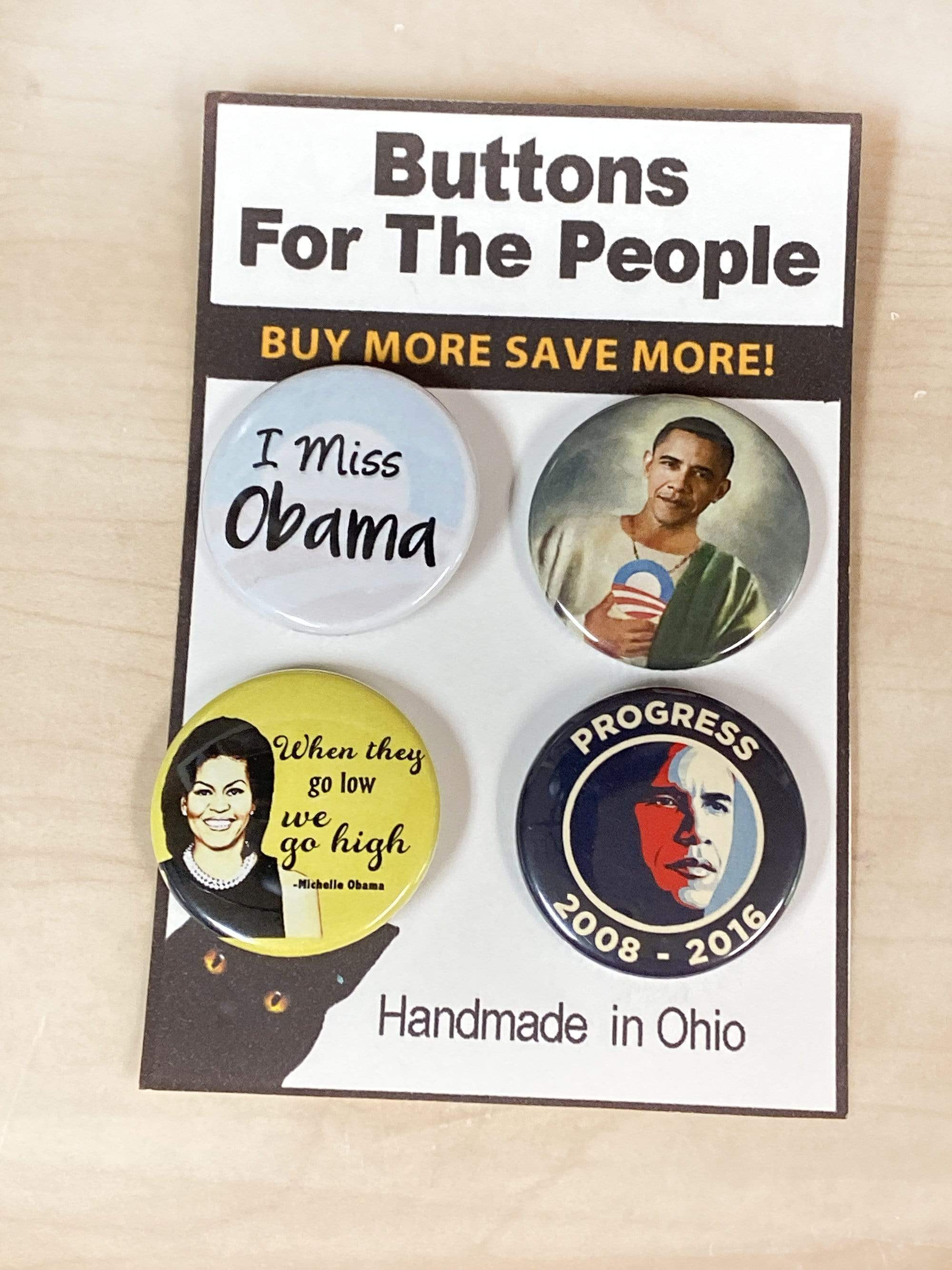 I Miss Obama and Michelle Pins Set of 4 Button Pins Pins Buttons For the People