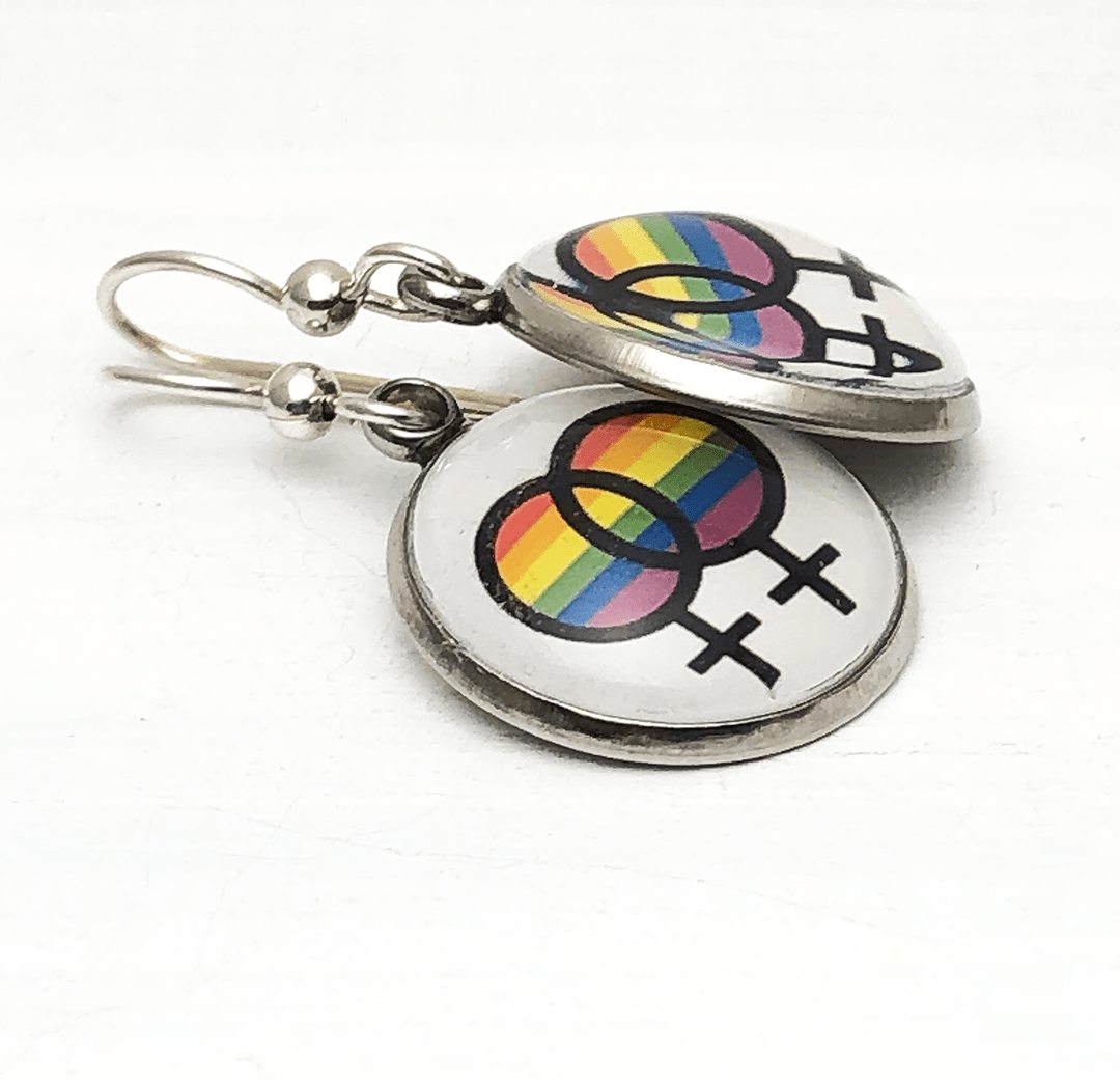 Lesbian Symbol Earrings with intertwined women's symbols Earrings Buttons For the People