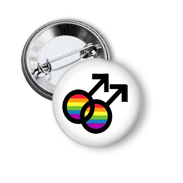 LGBTQ Pin with interlocking male symbols