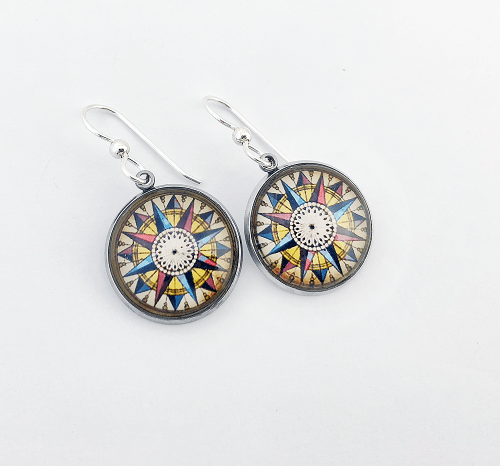 Moral Compass Earrings Earrings Buttons For the People