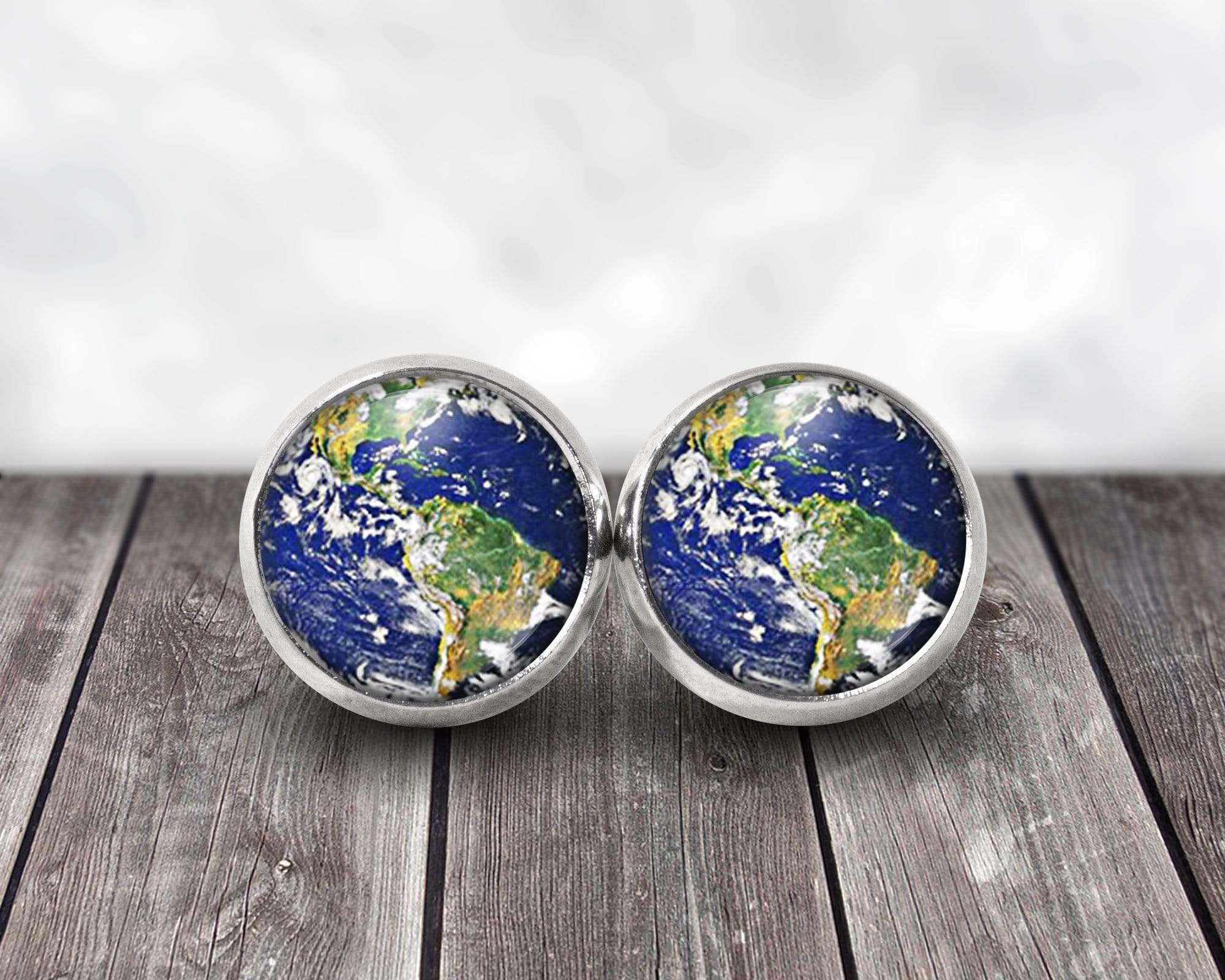 Planet Earth Post Earrings 12mm stainless steel Earrings Buttons For the People
