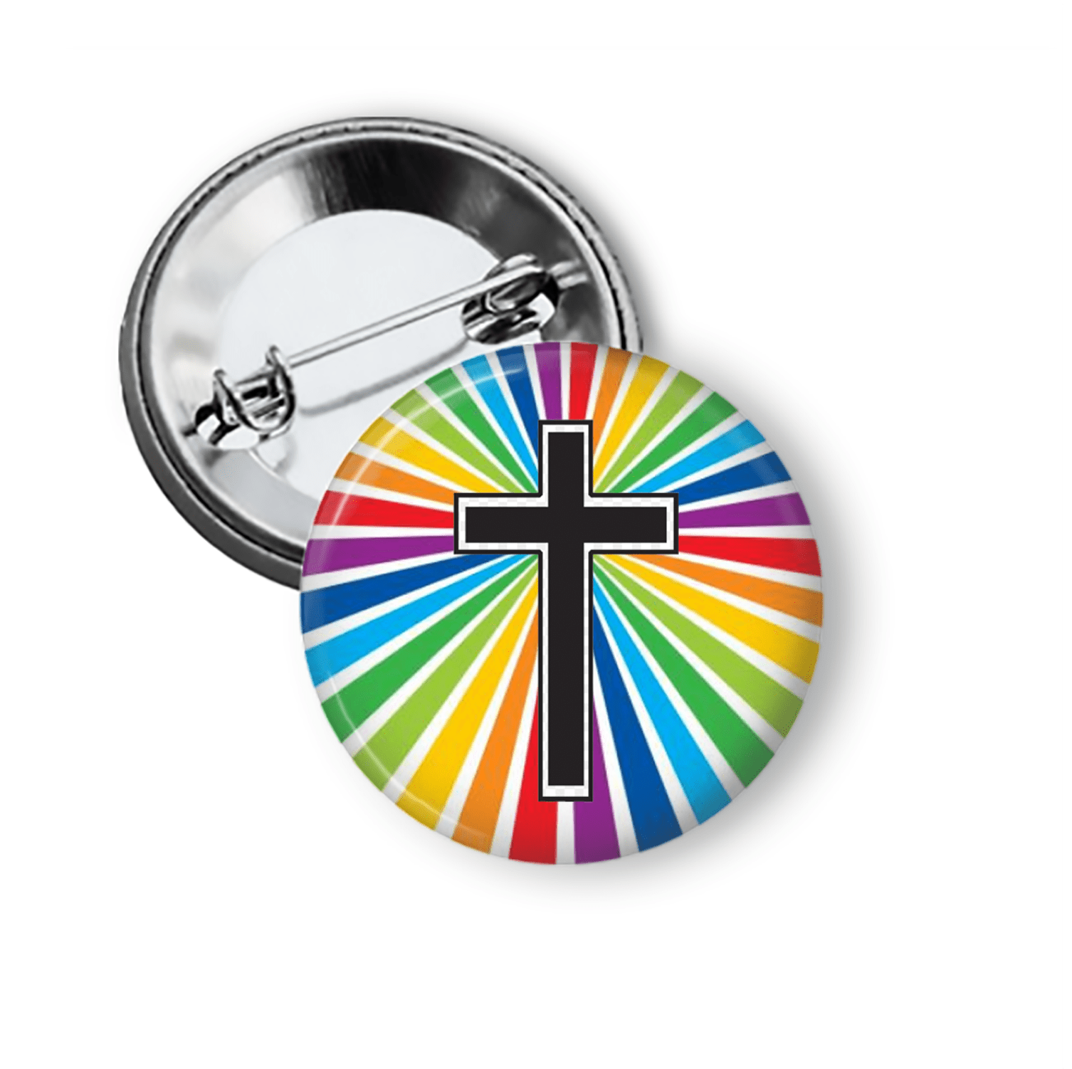 Rainbow Cross Pin Back Button Pins Buttons For the People
