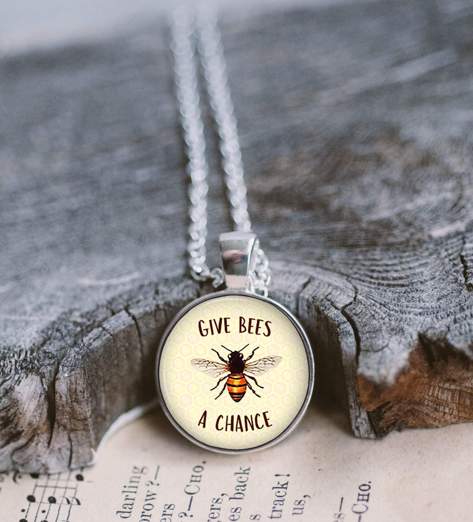 Save the Bees Necklace Necklace Buttons For the People