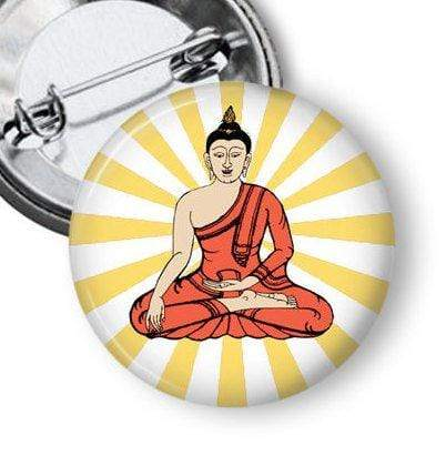Sitting Buddha Pinback Button Pins Buttons For the People