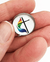 United Methodist Cross and Flame Rainbow Lapel Pin Lapel Pin Buttons For the People