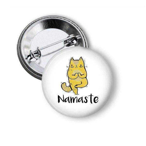 Yoga Button with Namaste and Posing Cat Pins Buttons For the People