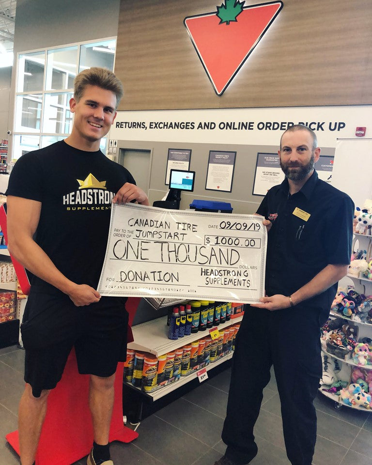 Canadian Tire Kids Jumpstart $1000 donation from Headstrong Supplements.