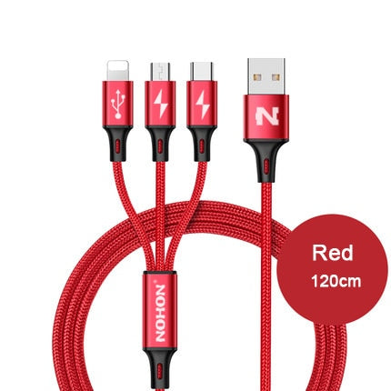 3 IN 1 USB Fast Charging Cables Cord - Type C 8Pin,  Micro,  iPhone