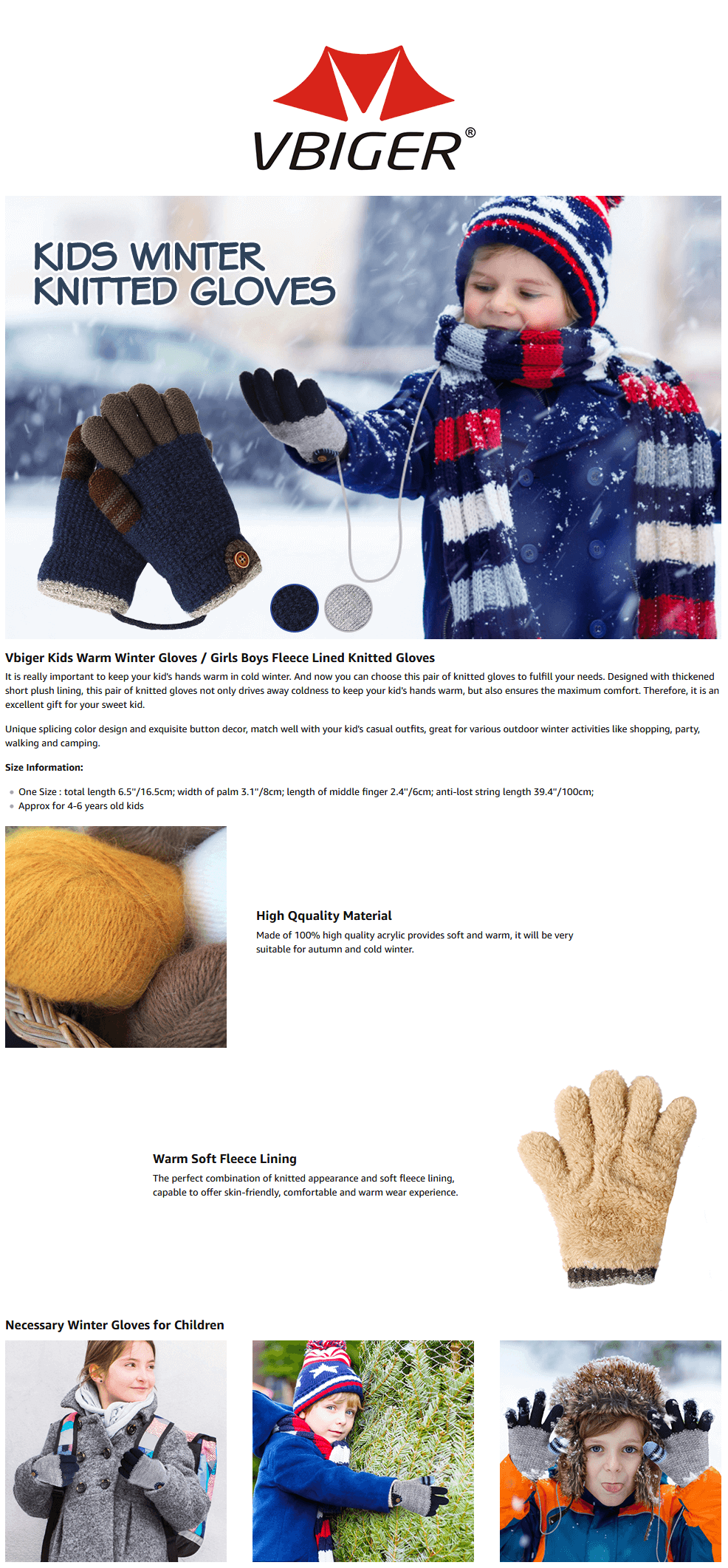 Vbiger Kids Knitted Gloves Thickened Winter Gloves Warm Gloves Soft Cold Weather Gloves