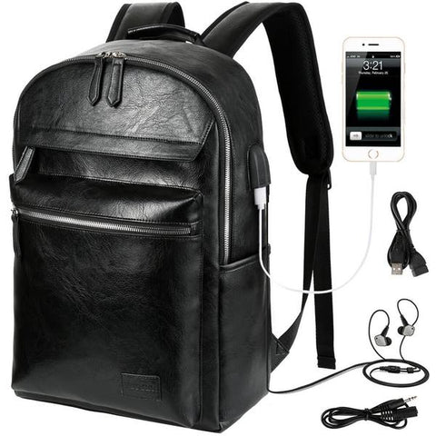 Vbiger-PU-Leather-Backpack-Trendy-Business-Backpacks-Large-capacity-Laptop-Shoulder-Bags-Casual-Outdoor-Daypack-Stylish-College-School-Bag-Waterproof-Travel-Backpack-for-Men-Black