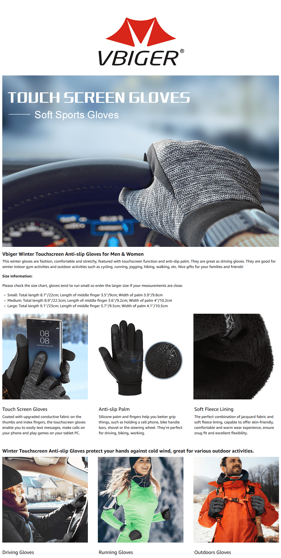 Vbiger Winter Warm Gloves Professional Touch Screen Gloves Winter Sport Gloves for Men and Women