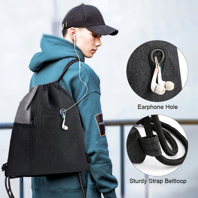 Vbiger Drawstring Backpack Sports Gym Sackpack Unisex Gym Sack with Earphone Hole