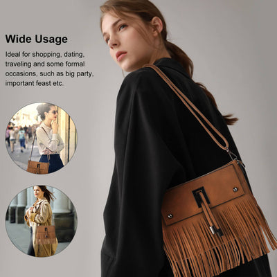 Vbiger Fashionable Shoulder Bags Cross-Body Bag Women Handbag with Tassel Decoration