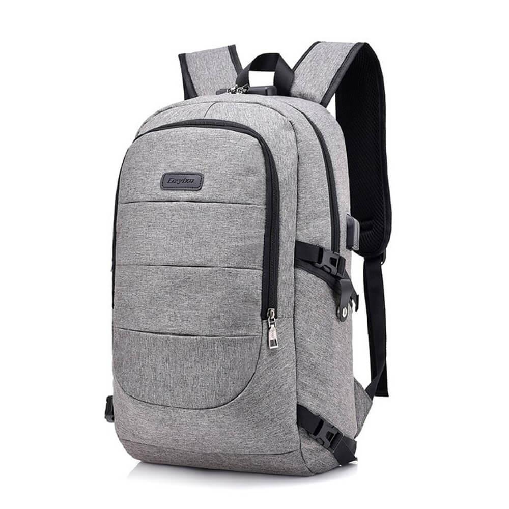 Vbiger Large-capacity Student Backpack Outdoor Backpack with USB Charging Port, Grey