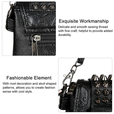 Vbiger PU Leather Shoulder Bag Trendy Cross-body Bag Delicate Rivet Decoration