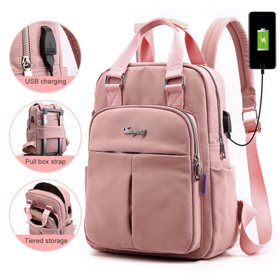 Vbiger USB Backpack Large Schoolbag Travel Bag, Pink