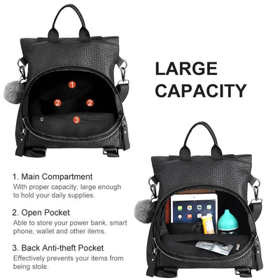 Vbiger Casual Shoulder Bag Daypack with Detachable Strap and Back Anti-theft Pocket