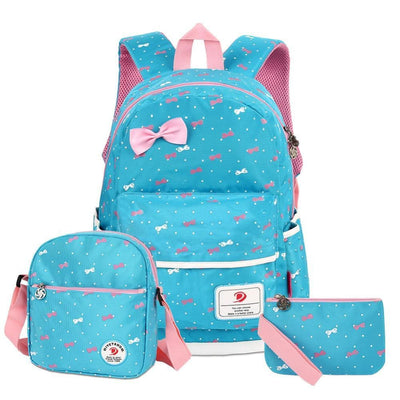 Vbiger 3-in-1 School Bag Waterproof Nylon Shoulder Daypack Polka Dot Bookbags - Light Blue - Backpacks