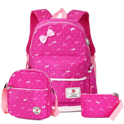 Vbiger 3-in-1 School Bag Waterproof Nylon Shoulder Daypack Polka Dot Bookbags - Rosy - Backpacks
