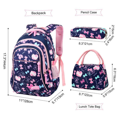 Vbiger 3-in-1 Student Shoulder Bags Set Trendy Backpack Lunch Tote Bag and Pencil Case - Backpacks