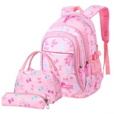 Vbiger 3-in-1 Student Shoulder Bags Set Trendy Backpack Lunch Tote Bag and Pencil Case - Pink - Backpacks