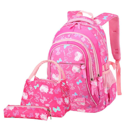 Vbiger 3-in-1 Student Shoulder Bags Set Trendy Backpack Lunch Tote Bag and Pencil Case - Rosy - Backpacks