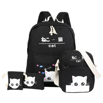 Vbiger 4-in-1 Shoulder Bags Casual Student Daypack for Teenage Girls Cute Cat Pattern - Black - Bag