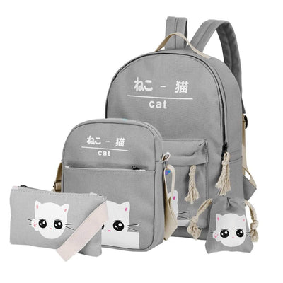 Vbiger 4-in-1 Shoulder Bags Casual Student Daypack for Teenage Girls Cute Cat Pattern - Grey - Bag