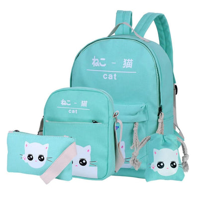 Vbiger 4-in-1 Shoulder Bags Casual Student Daypack for Teenage Girls Cute Cat Pattern - Light Green - Bag